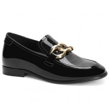 Chamaripa kvinders platform kiler loafers sort læder loafers 5 CM