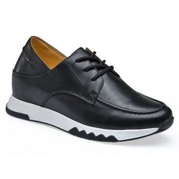 CHAMARIPA kvinder sorte kile sneakers - skjulte kile sneakers - læder slip on casual sko til kvinder 6 CM højere