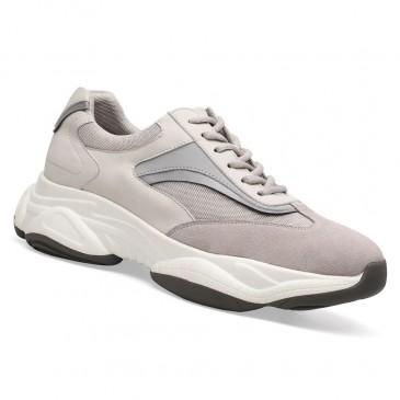 Chamaripa højde stigende sko mænd højere sko abrikos chunky trænere Elevator sneakers 8.5 cm / 3.35 tommer