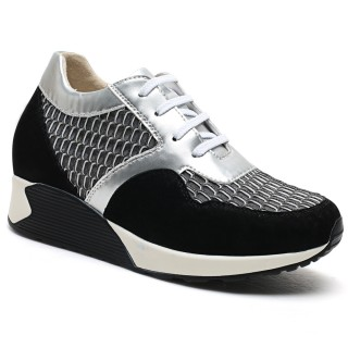 white/gray breathable height lovers shoes