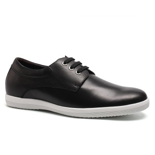 Black Cow Leather Elevator Insoles Casual Shoes With Lifts For Men