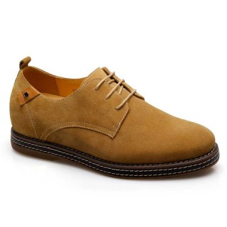 Aumento de zapatos Ascensor Plantillas de Hombre Luz Camel Gamuza ocasional 6 cm más alto