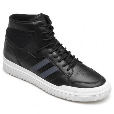 CHAMARIPAエレベータスニーカー(男性用)通気性のある黒い靴で、身長が7 CM高くなります