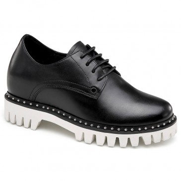 CHAMARIPA高さを増やす女性のためのカジュアルシューズブラックレザー高さを増やす靴8CM