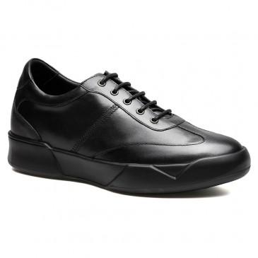 Chamaripa背 の 高く なる 靴シークレット シューズ スニーカーカジュアル 黒革靴 メンズ+7CM UP