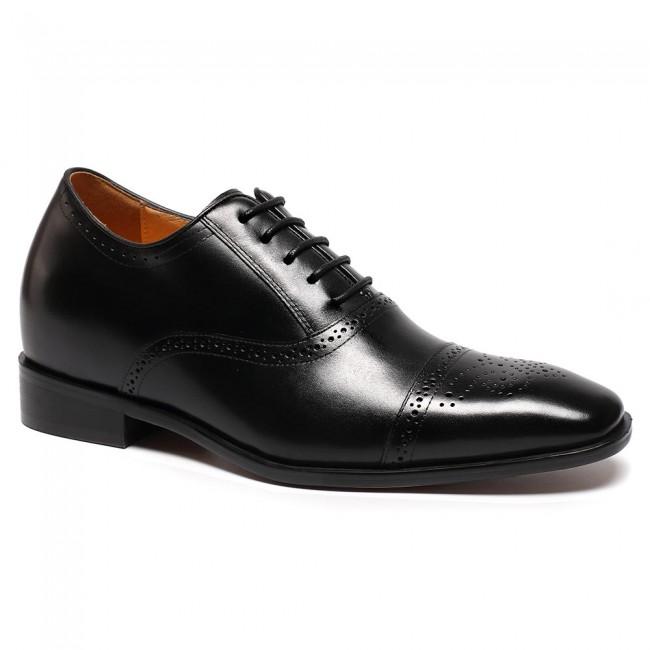 أسود جلد العجل الأحذية الجلدية ارتفاع ثوب الزفاف تجعلك تبدو أطول قامة 7 سم