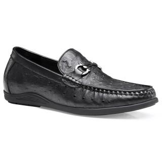 Chamaripa الرسمي الارتفاع زيادة متعطل جلد أسود الانزلاق على أحذية مصعد للرجال 4 سم