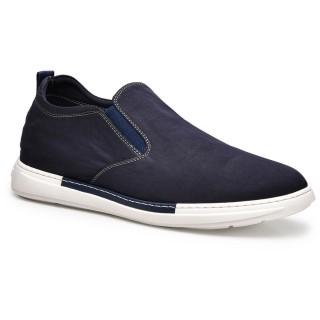 حذاء سهل الارتداء عصري أزرق داكن بارتفاع أحذية للرجال 6 سم