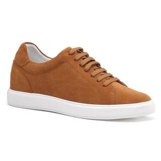 Chamaripa أحذية رجالية عادية طويلة القامة من جلد الغزال البني الارتفاع الكلاسيكي زيادة الأحذية الرياضية 7 سم