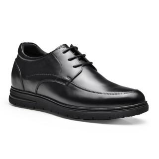 ارتفاع شاماريبا أحذية الارتفاع للرجال أحذية جلدية سوداء الأعمال للحصول على 7.5 سم أطول