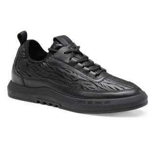 أحذية Chamaripa التي تزيد من الارتفاع أسود طويل القامة أحذية رجالية أحذية الكعب الخفي للرجال 6 سم