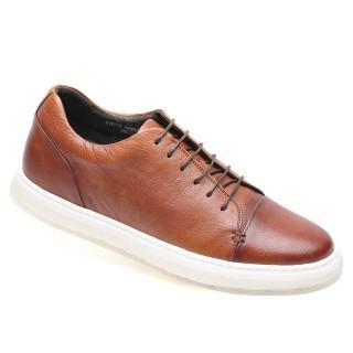 حذاء شاماريبا بارتفاع متزايد حذاء رياضي رياضي بني كاجوال كعب مخفي 5 سم
