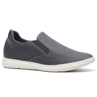 Chamaripaزيادة الانزلاق على زيادة الأحذية رمادية عارضة أحذية طويلة القامة للرجال أحذية كعب مخفي للرجال 6 سم