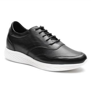 Chamaripa أحذية رياضية عارضة للمصاعد للرجال جلد أسود أحذية عالية الكعب أحذية الرجال أطول 7 سم