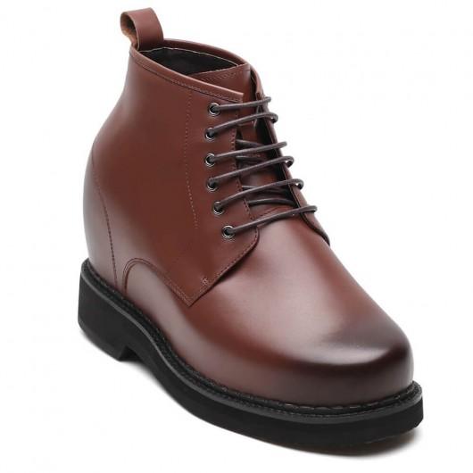 Chamaripa scarpe con rialzo interno scarpe rialzate marrone scuro scarpe stringate che aumentano l'altezza 13CM