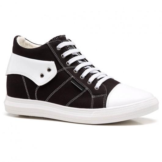 Chamaripa sneakers con tacco interno scarpe con rialzo sneakers alta scarpe uomo rialzate nero bianco 6 CM