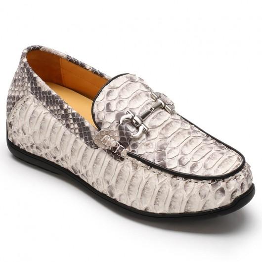 Chamaripa scarpe rialzanti extra uomo scarpe rialzanti scarpe in pelle di pitone bianco 7CM