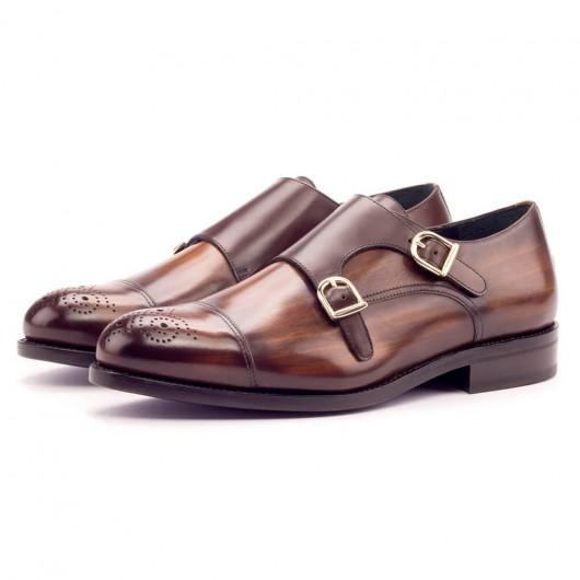 CHAMARIPA scarpe con rialzo interno scarpe monk strap in pelle marrone scarpe rialzate eleganti 7CM