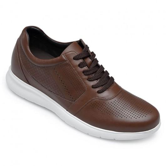 CHAMARIPA scarpe rialzate uomo - sneaker con rialzo interno - scarpe in pelle traforata marrone che ti fanno 6 CM più alto