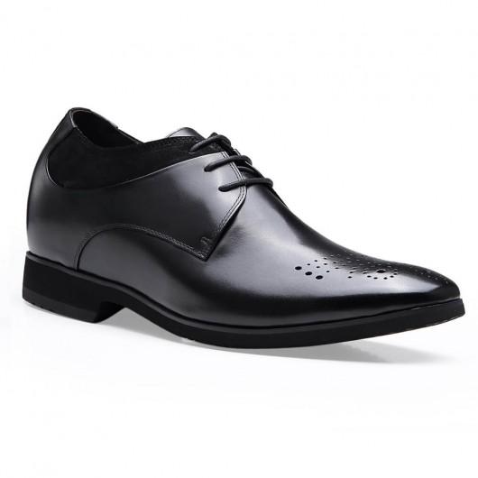 10 CM Più' Alti - Chamaripa scarpe eleganti uomo con rialzo uomo con tacco stivali tacco interno scarpe rialzanti uomo Nero