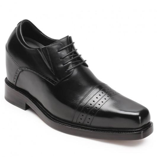 CHAMARIPA scarpe rialzate per uomo scarpe con rialzo in pelle scarpe stringate nere 13 CM diventare più alti