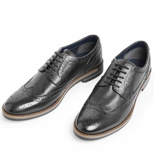 CHAMARIPA scarpe rialzate scarpe uomo rialzo interno scarpe brogue in pelle nero 7CM
