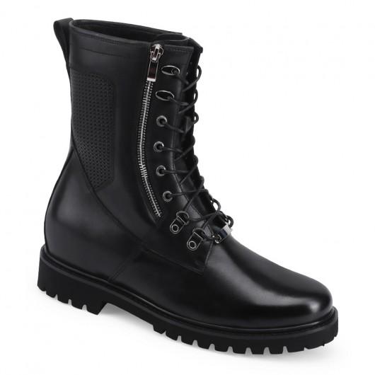 CHAMARIPA stivali moto per persone basse - stivali moto con rialzo uomo in pelle nera - Stivali rialzati per veri Biker 7 CM