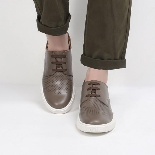 CHAMARIPA scarpe rialzate uomo - sneakers con rialzo interno - sneaker in pelle traforata cammello 6CM Più alto