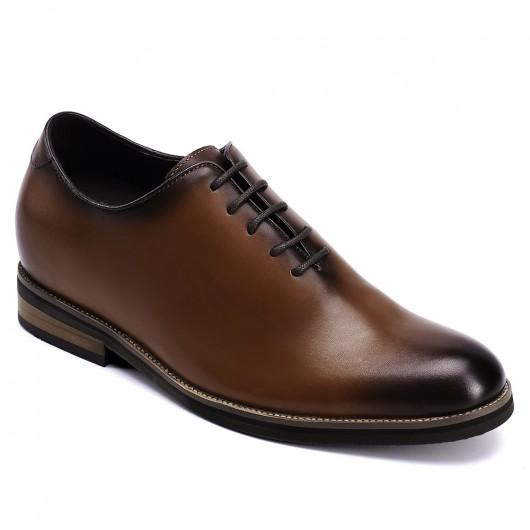CHAMARIPA scarpe con rialzo interno - scarpe eleganti con tacco interno -  scarpe stringate in pelle marrone 7CM