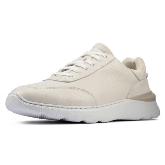 CHAMARIPA scarpe rialzate per uomo -  scarpe sneaker in pelle bianca - scarpe da ginnastica con rialzo interno 7 CM