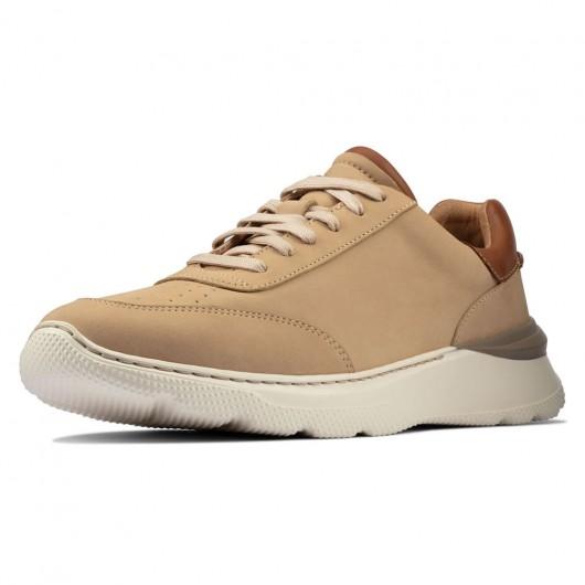 CHAMARIPA sneakers con tacco interno -scarpe con rialzo interno uomo - casual sneaker in nabuk tortora 7 CM