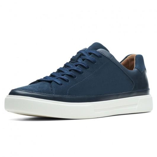 CHAMARIPA scarpe rialzate uomo - sneakers con tacco interno - sneakers in pelle nabuk blu scuro 7 CM