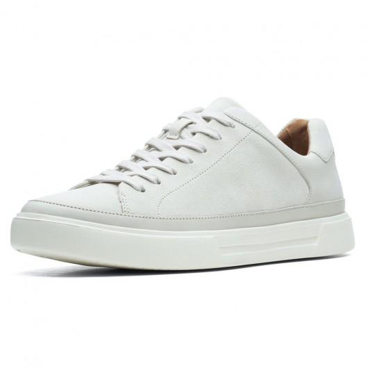 CHAMARIPA sneakers con tacco interno -scarpe rialzate all'interno - sneakers casual in nabuk bianco 7 CM più alto