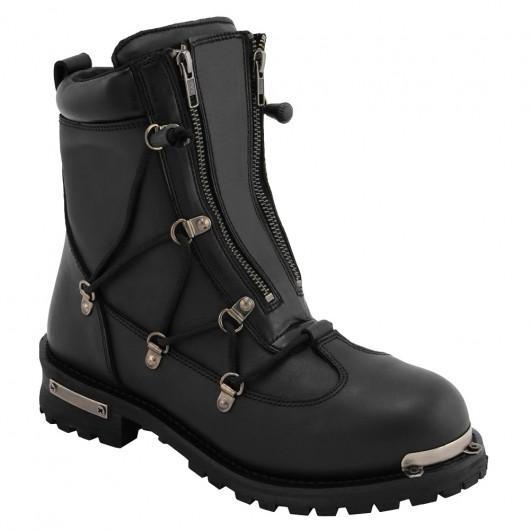 CHAMARIPA stivali moto con rialzo in pelle nera per uomo - Stivali rialzati per veri Biker - stivali moto con zeppa alta 7 CM