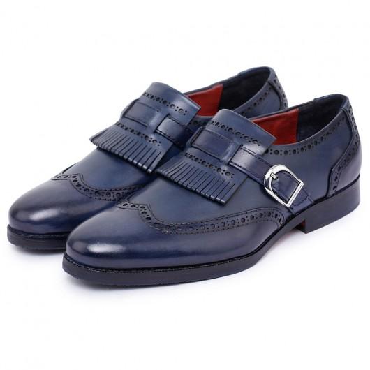 CHAMARIPA scarpe rialzate eleganti - scarpe uomo tacco alto - Monk strap brogue con coda di rondine a coda di rondine 7CM
