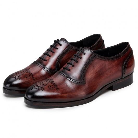CHAMARIPA scarpe da sposò con rialzo interno uomo - scarpe rialzate -oxford a coda di rondine artigianale marrone - 7 CM