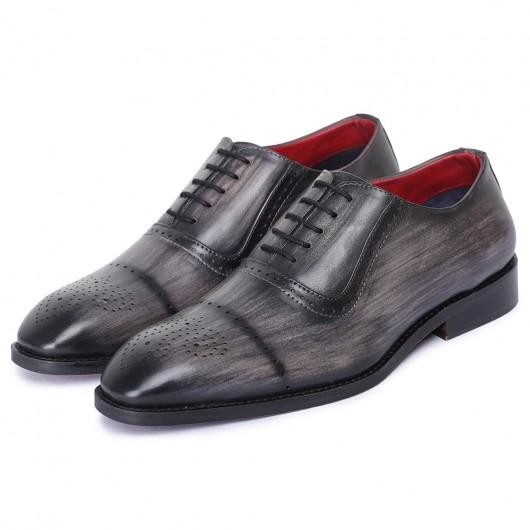 CHAMARIPA scarpe con rialzo interno - scarpe rialzanti uomo - oxford grigio artigianale 7 CM