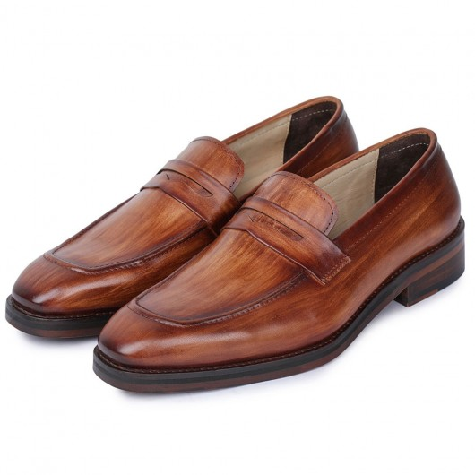 CHAMARIPA scarpe con rialzo interno uomo - scarpe rialzate - mocassini fatti a mano -Marrone 7CM
