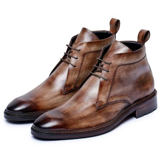 CHAMARIPA scarpe uomo rialzo interno - stivaletti con tacco interno - stivali chukka classici marroni 7CM