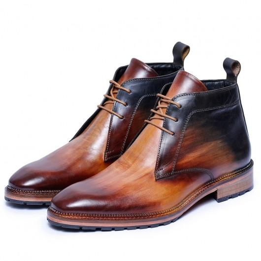 CHAMARIPA scarpe con rialzo interno - scarpe con tacco interno- bruine leren laarzen tan 7CM