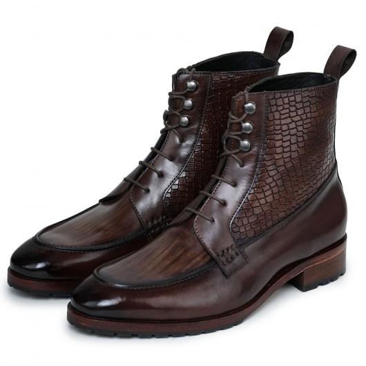 CHAMARIPA stivali con tacco interno- stivali con rialzo interno - stivali in pelle marrone fatti a mano 7CM