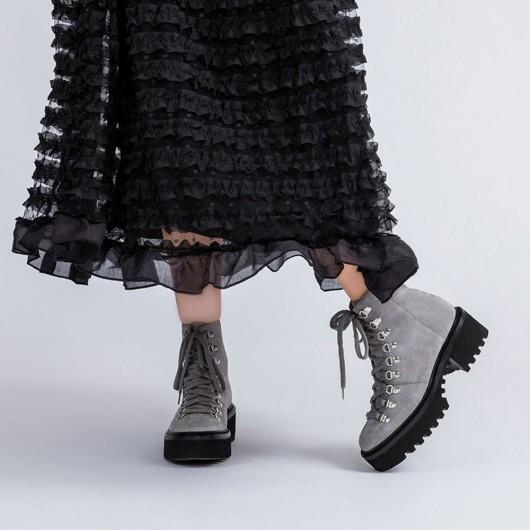 CHAMARIPA stivali con zeppa alta - stivali con rialzo donna - stivali stringati in pelle grigio 8CM