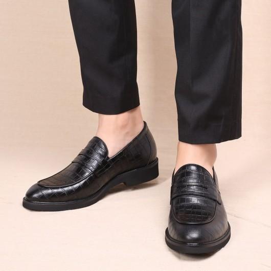 CHAMARIPA scarpe con rialzo interno nero goffratura mocassini rialzate in pelle da uomo 5CM