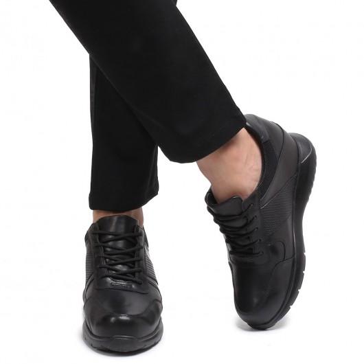 CHAMARIPA scarpe rialzate in pelle nero scarpe con rialzo interno uomo diventare piu alti 10 CM