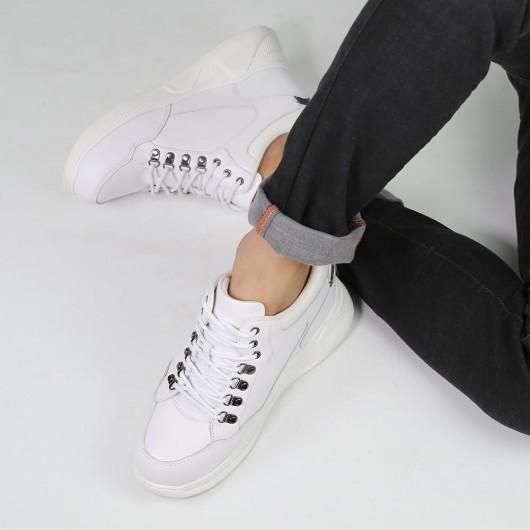 CHAMARIPA scarpe uomo rialzo interno sneakers con tacco interno scarpe in pelle bianca 10CM