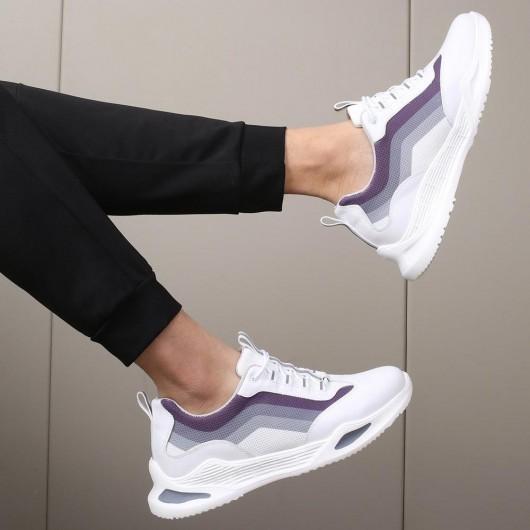 CHAMARIPA sneakers con tacco interno scarpe con rialzo scarpe uomo tacco alto bianche 7CM