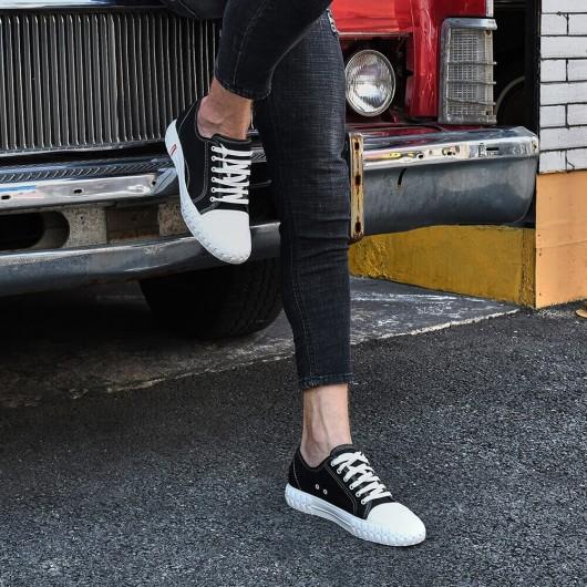 CHAMARIPA scarpe rialzate all'interno scarpe di tela scarpe con rialzo interno scarpe da ginnastica nero 6CM