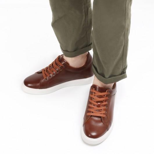 CHAMARIPA scarpe con rialzo interno sneakers basse marroni sneakers con tacco interno 7CM
