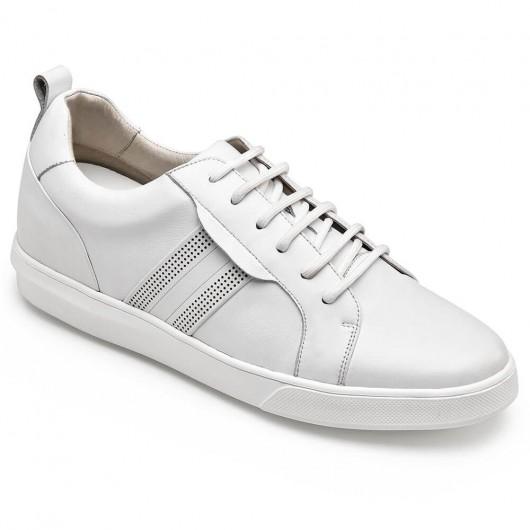 CHAMARIPA sneakers con tacco interno scarpe rialzate per uomo sneakers in pelle bianca 6 CM