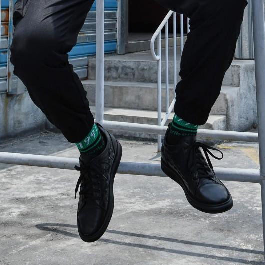 Chamaripa scarpe con rialzo interno sneaker nere con stampa coccodrillo scarpe uomo tacco alto 6CM